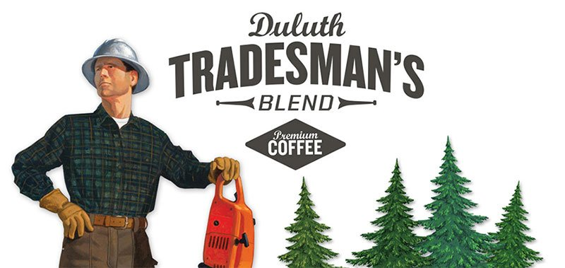 Ilustration and design depicting a lumberjack leaning on chainsaw, amongst pine trees, and used or Duluth Trading Co.'s Duluth Tradesman's Blend coffee. Design by Michael Kerwin; trandsman illustration by Duluth Trading Co.