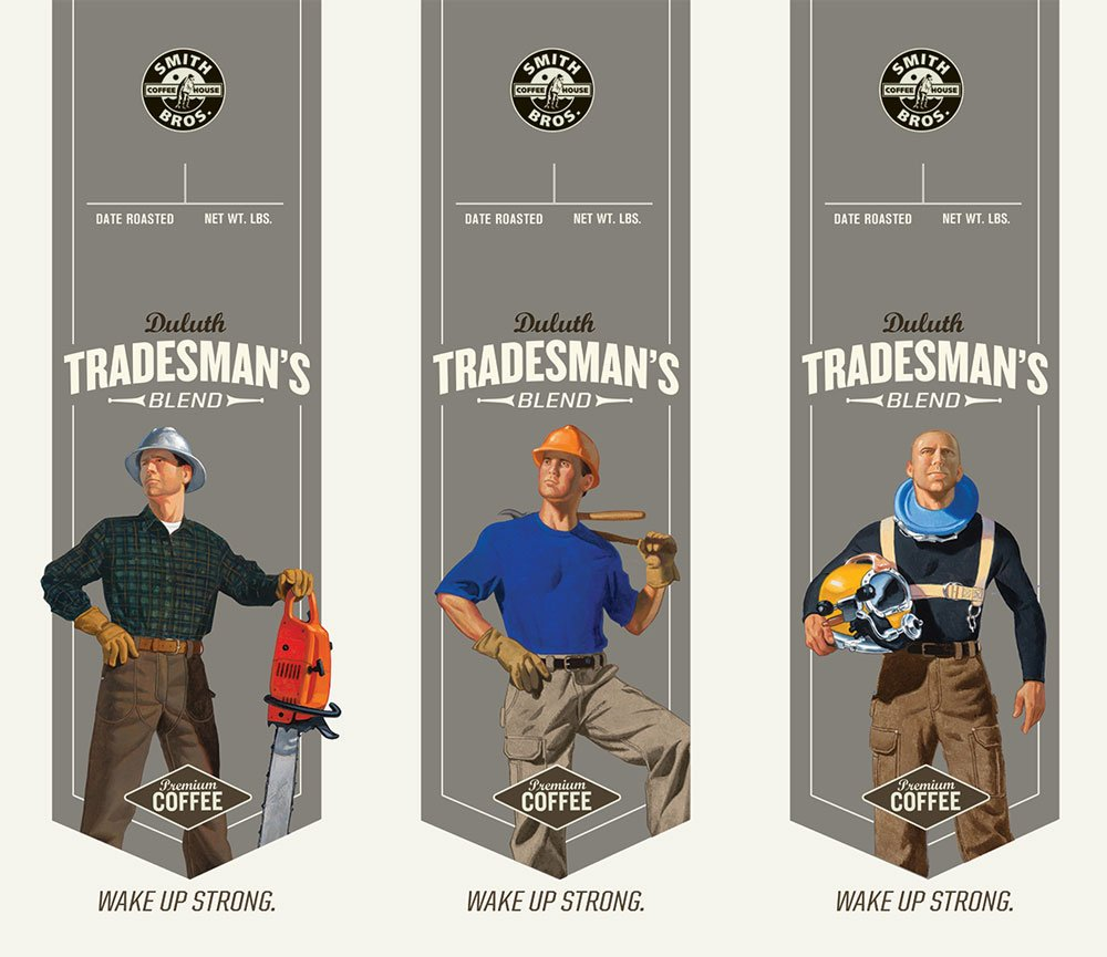Duluth Trading Co. coffee package labels