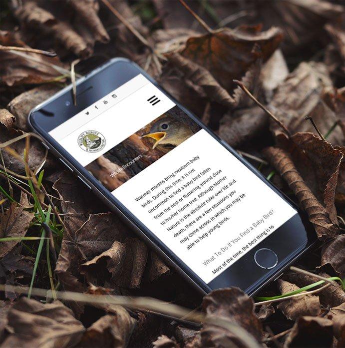 Wildlife Rescue & Rehabilitation website on iphone