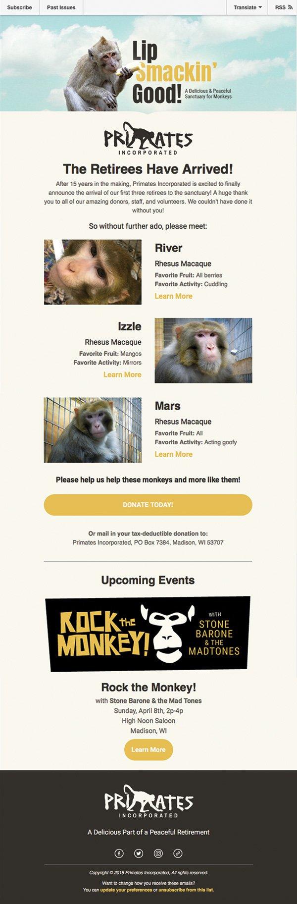 Primates Incorporated enewsletter