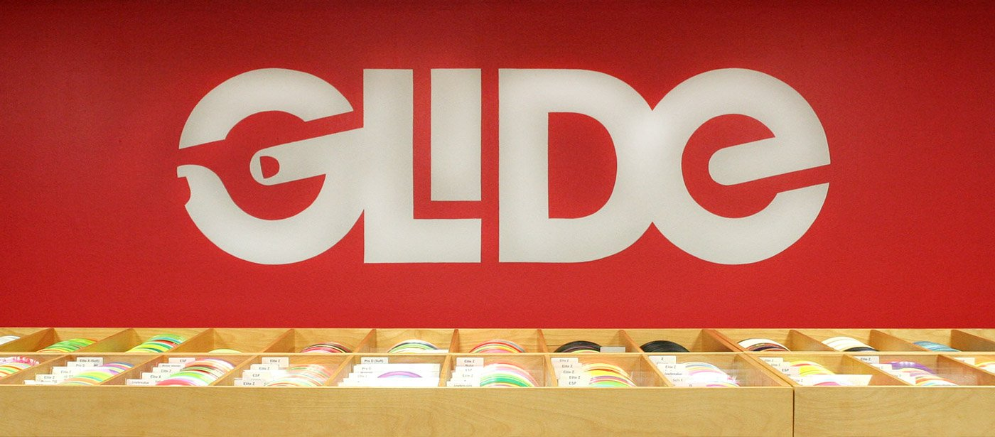 Glide logo on store wall