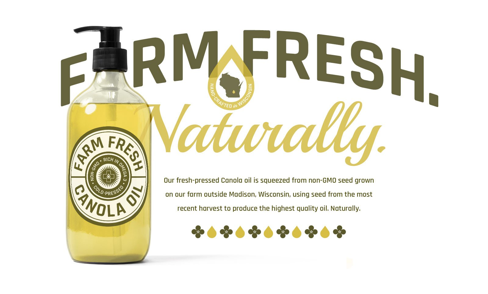 Brand identity and ad layout for Farm Fresh Canola Oil by Phonographik Design Studio