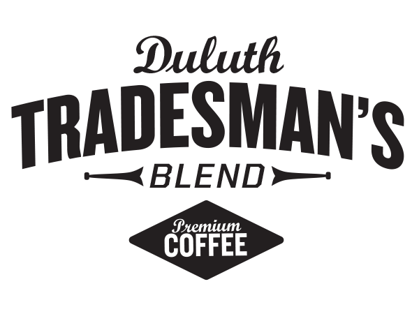 Logo design for Duluth Trading Co.'s Duluth Tradesman's Blend coffee, created by Michael Kerwin of Phonographik Design Studio