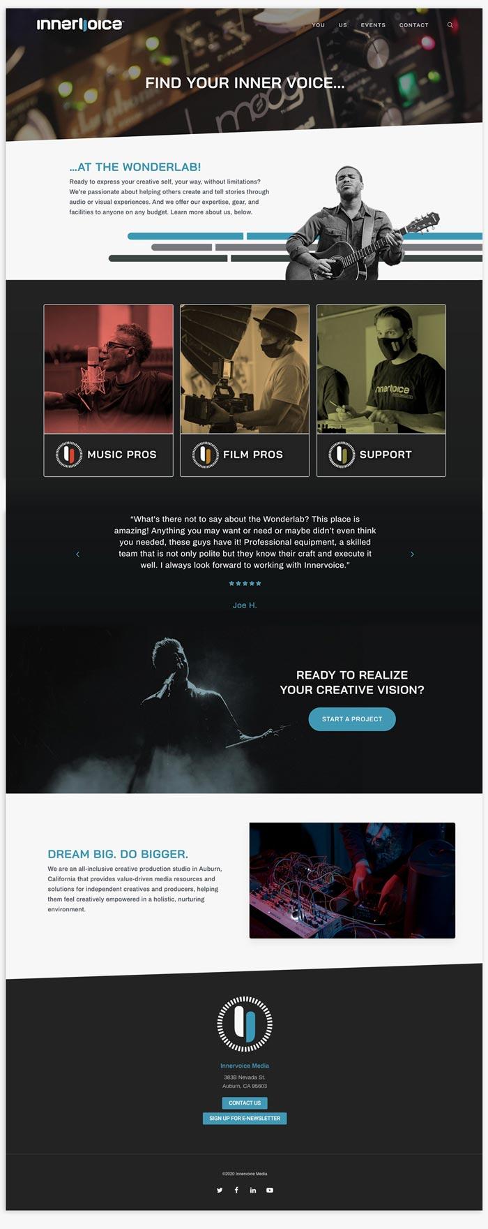 Innervoice Creative WonderLab website home page layout