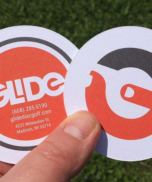 Glide business cards, logo, and mark