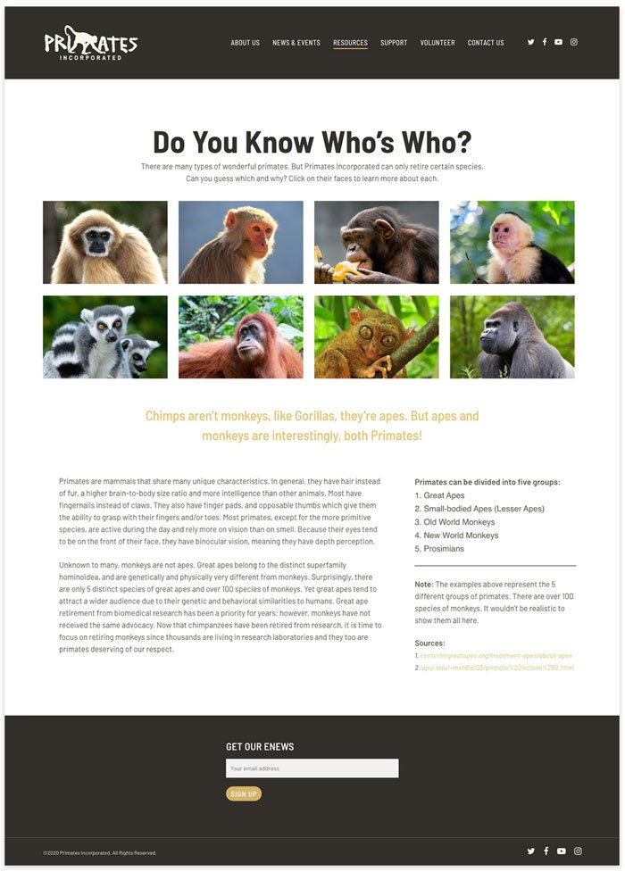 Primates Incorporated website resources page layout