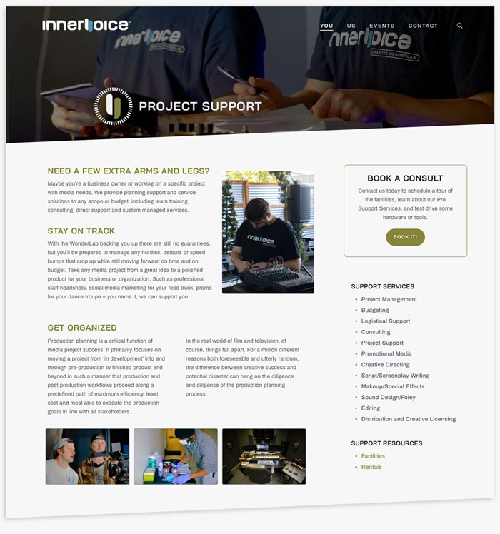 Innervoice Creative WonderLab website project support page layout
