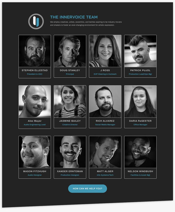 Innervoice Creative WonderLab website team page layout